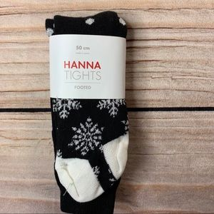 NWT Hanna Andersson Black Snowflake Tights Size 50